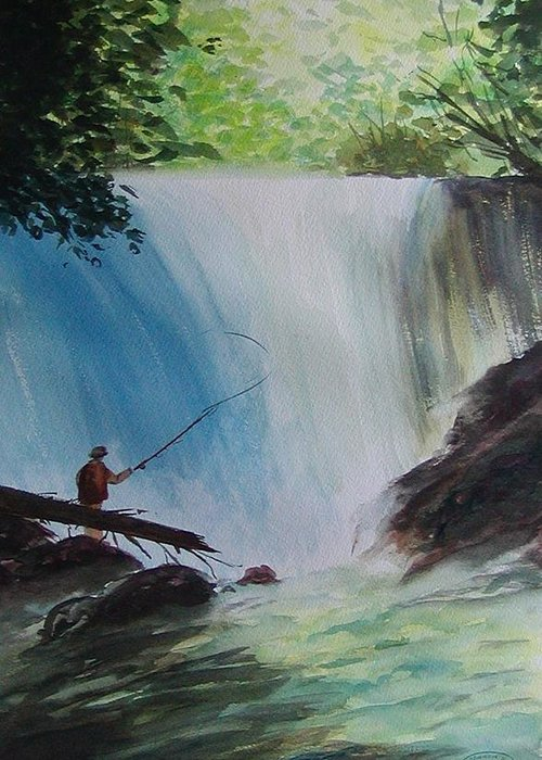 Fishing Landscape Greeting Card featuring the painting Gone Fishing by Sharon Steinhaus