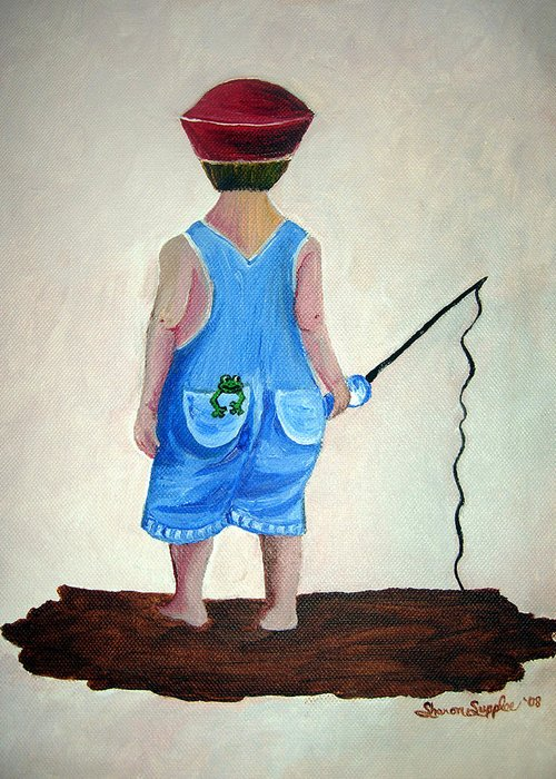 Fishing Greeting Card featuring the painting Gone Fishing by Sharon Supplee