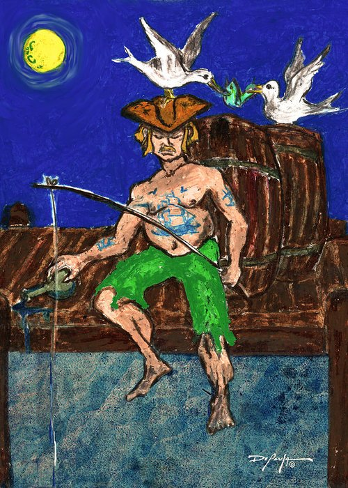 Fishing Greeting Card featuring the pastel Gone Fishing by William Depaula