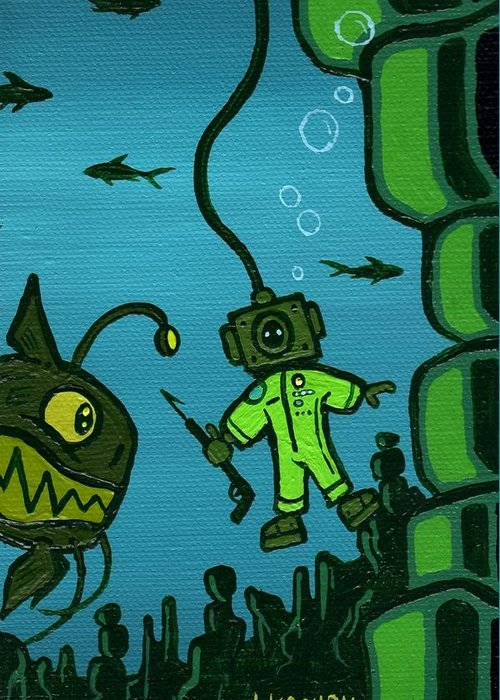 Fishing Greeting Card featuring the painting Gone Fish'n by Dan Keough