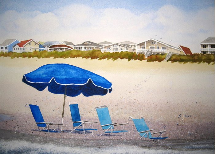 Beach Greeting Card featuring the painting Gone To Lunch by Shirley Braithwaite Hunt