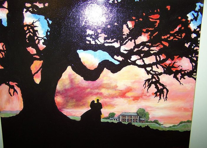 Landscape Greeting Card featuring the painting Gone With The Wind by Charles Vaughn