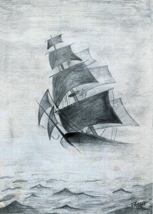 Sailboats Greeting Card featuring the drawing Gone With The Wind by Farah Faizal