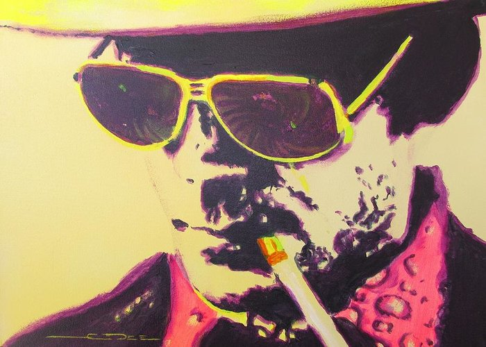 Hunter S. Thompson Greeting Card featuring the painting Gonzo - Hunter S. Thompson by Eric Dee