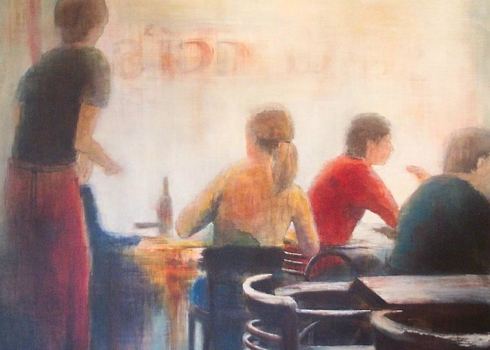 Restaurant Greeting Card featuring the painting Good Company by Victoria Heryet