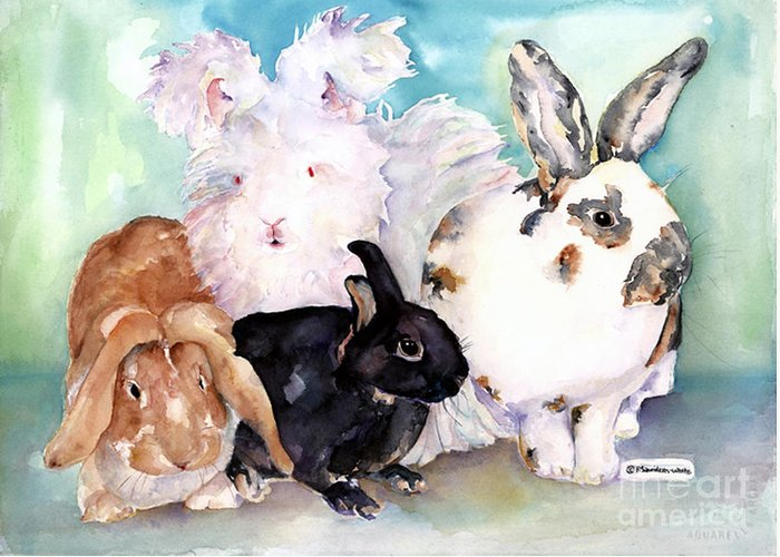 Animal Artwork Greeting Card featuring the painting Good Hare Day by Pat Saunders-White