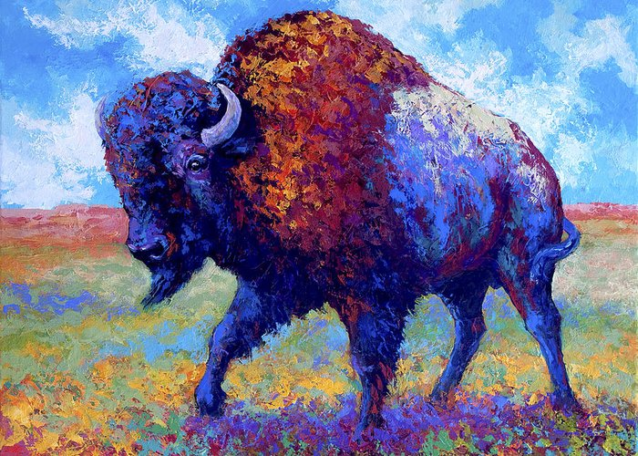 Bison Greeting Card featuring the painting Good Medicine by Marion Rose