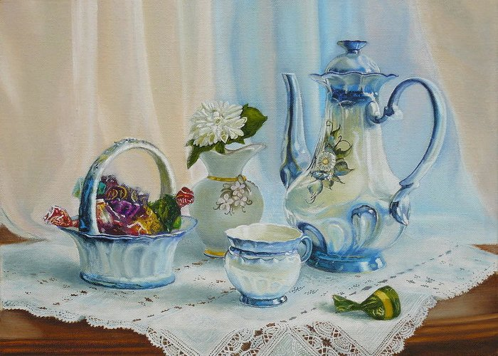 Good morning my love greeting card for sale by vasily zolottsev still life greeting card featuring the painting good morning my love by vasily zolottsev m4hsunfo