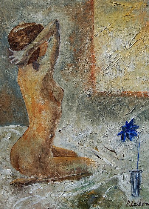 Nude Greeting Card featuring the painting Good Morning Sunshine by Pol Ledent