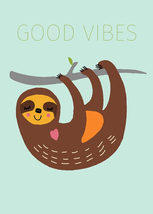 Sloth Drawings Greeting Cards