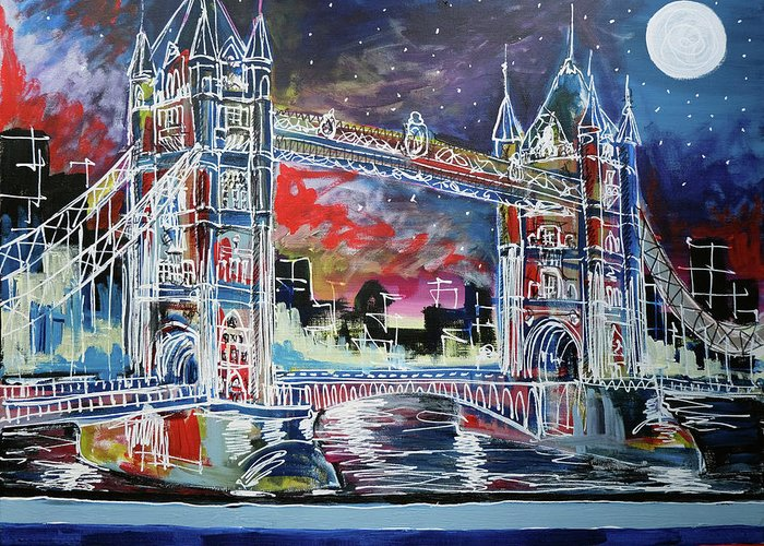 Tower Bridge Greeting Card featuring the painting Goodnight Tower Bridge by Laura Hol Art