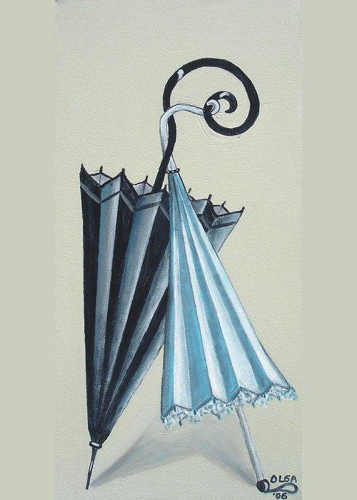 Umbrellas Greeting Card featuring the painting Goog Morning by Olga Alexeeva