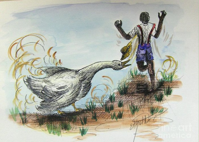 African American Art Greeting Card featuring the painting Goose Chase by Ethel Dixon