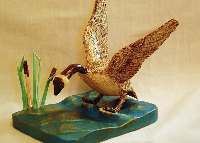 Woodcarving Greeting Card featuring the sculpture Goose Landing by Russell Ellingsworth