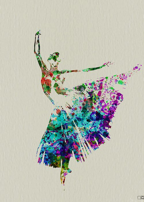 Greeting Card featuring the painting Gorgeous Ballerina by Naxart Studio