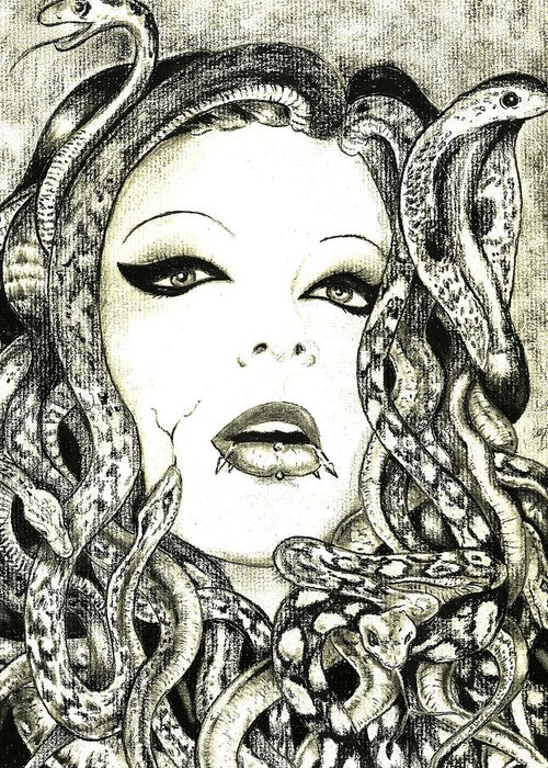 Portrait; Charcoal; Horror; Snakes; Medusa Greeting Card featuring the drawing Gorgon by Justin Kautz