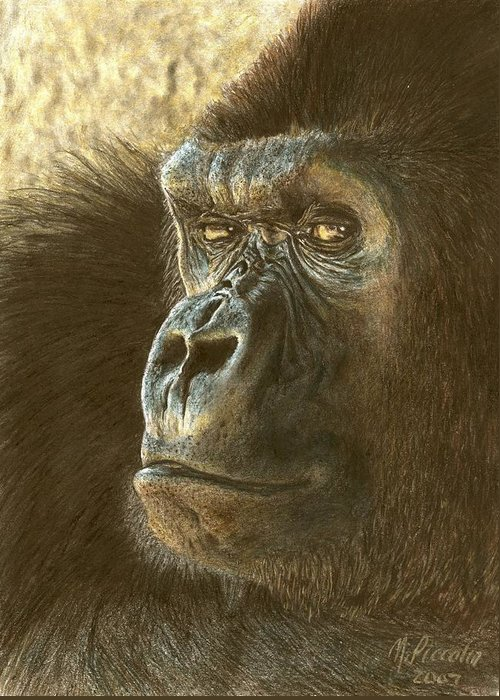Gorilla Greeting Card featuring the drawing Gorilla by Marlene Piccolin