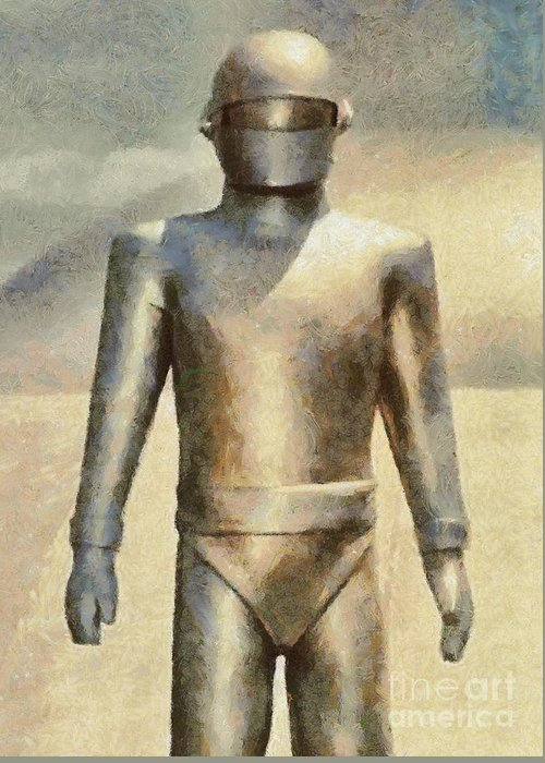 Hollywood Greeting Card featuring the painting Gort from The Day The Earth Stood Still by Esoterica Art Agency