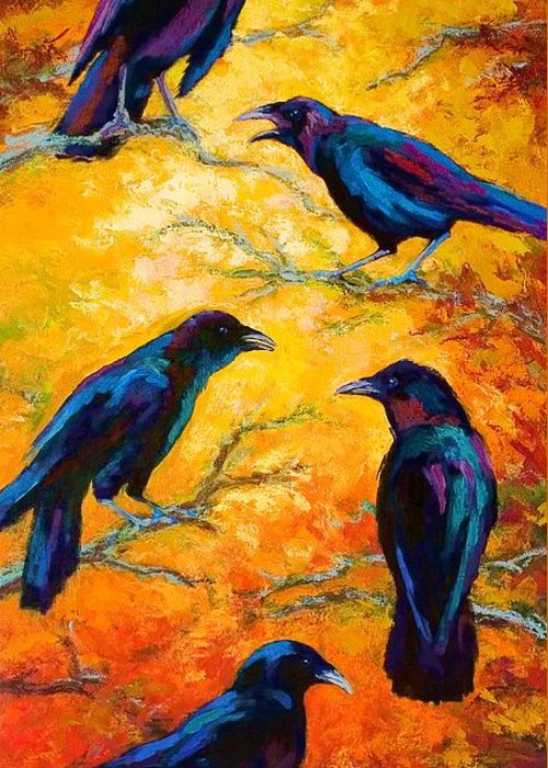 Crows Greeting Card featuring the painting Gossip Column II by Marion Rose