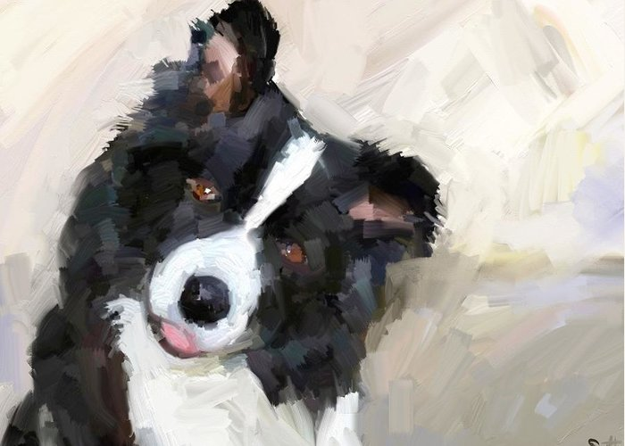 Border Collie Dog Sheepdog Greeting Card featuring the digital art Got any sheep? by Scott Waters