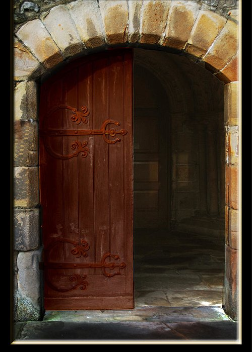 Door Greeting Card featuring the photograph Gothic Church Door by Peter Jenkins