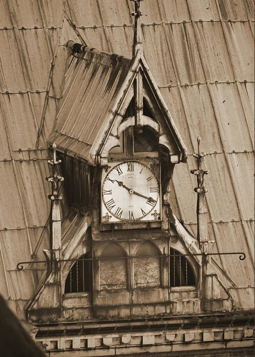 Gothic Clock Built Into The Roof Of Notre Dame Cathedral In Paris France Sepia Greeting Card