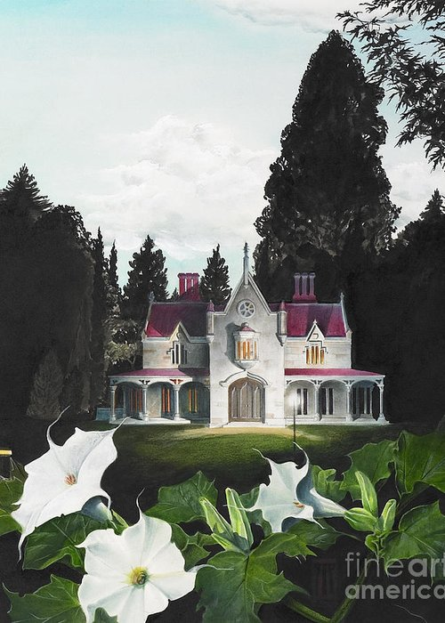 Fantasy Greeting Card featuring the painting Gothic Country House Detail From Night Bridge by Melissa A Benson
