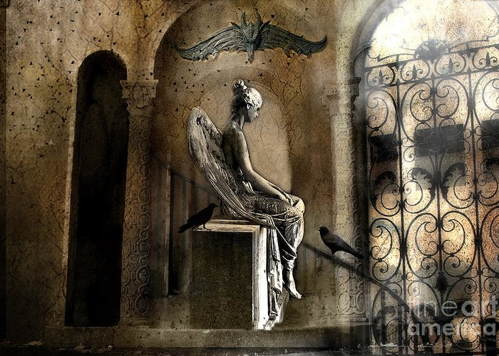 Angel Art Greeting Card featuring the photograph Gothic Surreal Angel With Gargoyles And Ravens by Kathy Fornal