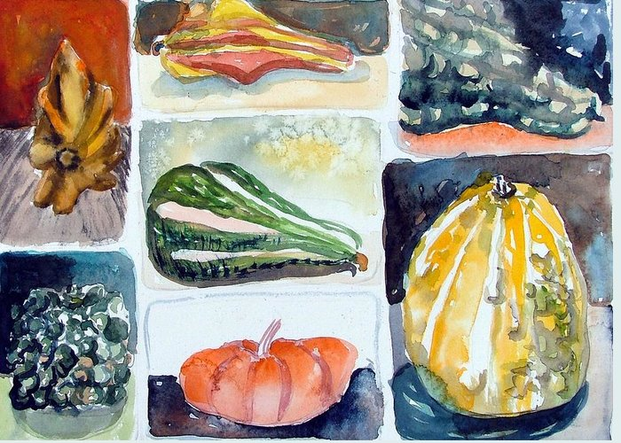 Gourd Greeting Card featuring the painting Gourd Collection by Mindy Newman