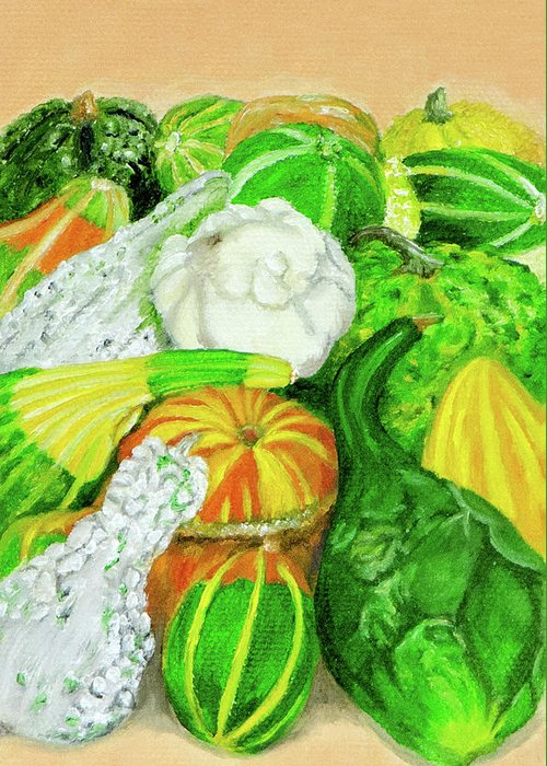 Seed Packet Greeting Card featuring the painting Gourds Seed Packet No Lettering by Vicki VanDeBerghe