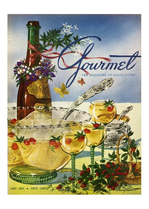 Illustration Greeting Card featuring the photograph Gourmet Cover Featuring A Bowl And Glasses by Henry Stahlhut