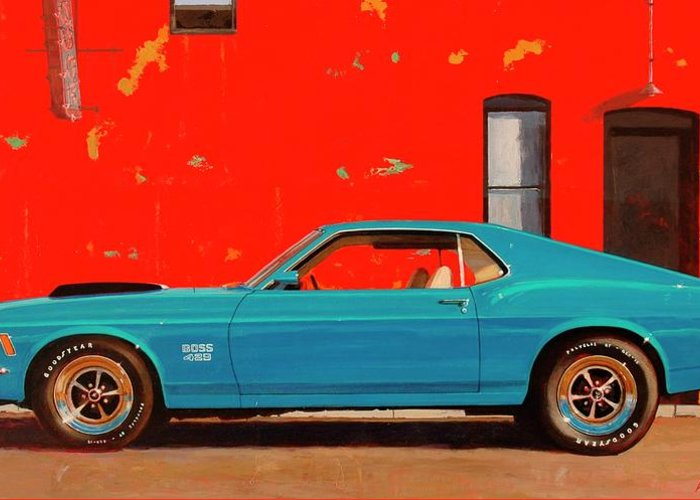 Muscle Car Greeting Card featuring the painting Grabber Blue Boss by Greg Clibon