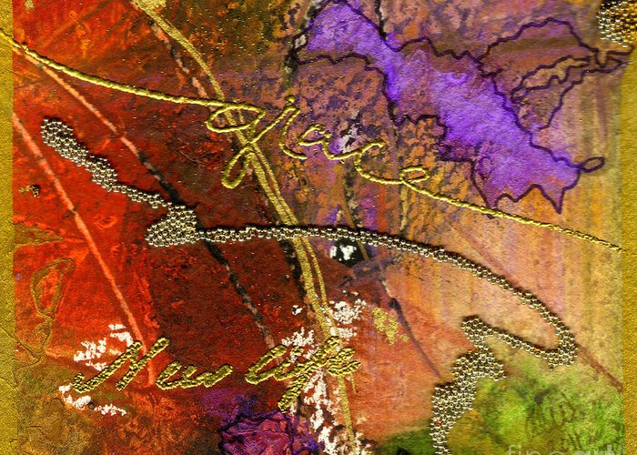 Abstract Greeting Card featuring the mixed media Grace by Angela L Walker