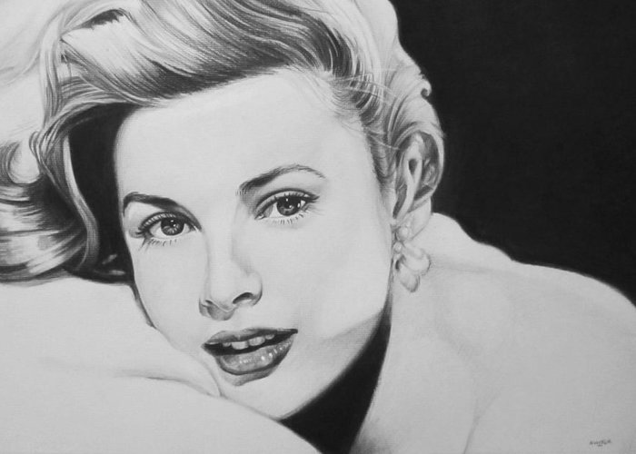 Grace Kelly Kelley Rear Window Actress Hollywood Cary Grant Charcoal Portrait Black And White Pencil Female Woman Greeting Card featuring the drawing 'grace' by Steve Hunter