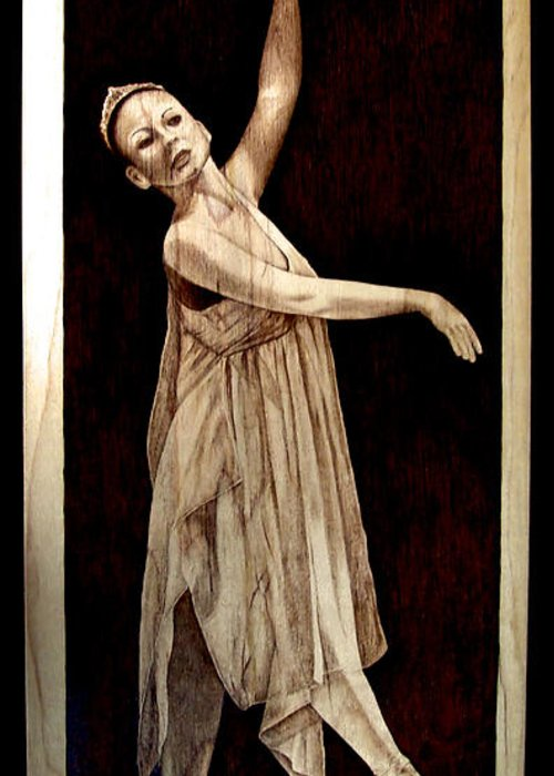 Pyrography; Woodburning; Ballerina; Light; Portrait; Shoe; Stage; Dress; Crown; Tiara; Dance; Greeting Card featuring the pyrography Grace Touching Light by Jo Schwartz