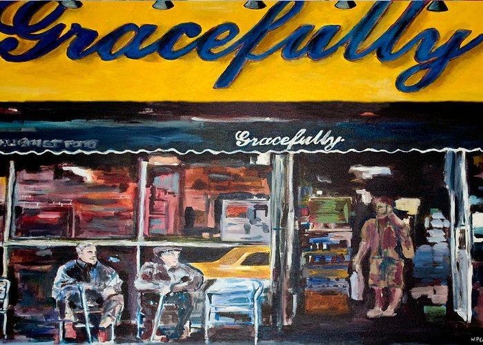New York City Paintings Greeting Card featuring the painting Gracefully by Wayne Pearce