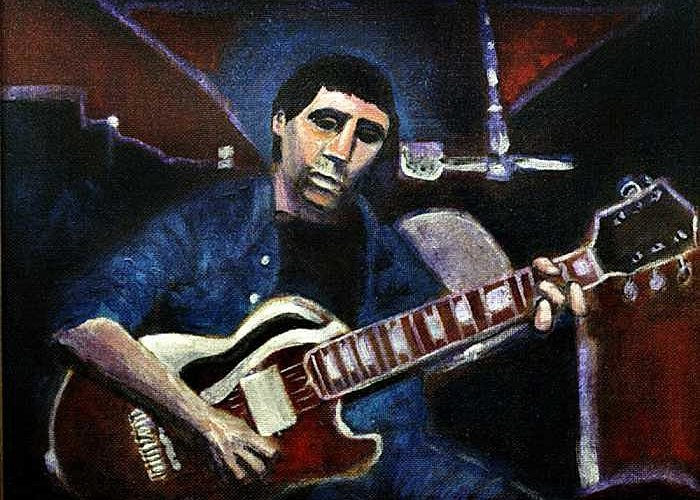 Shining Guitar Greeting Card featuring the painting Graceland Tribute To Paul Simon by Seth Weaver