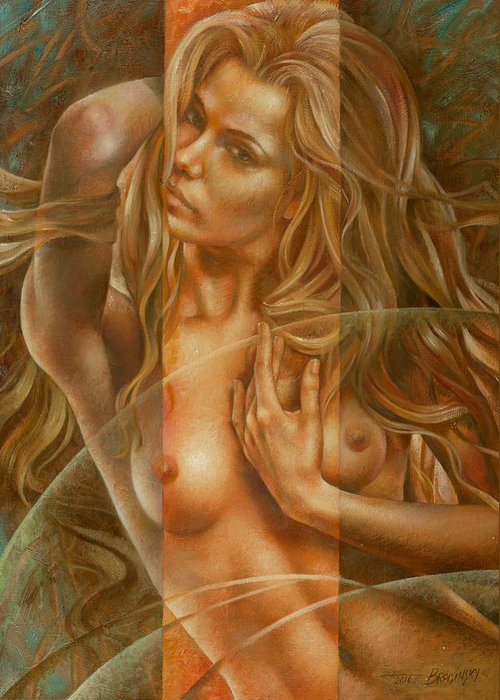 Nudes Greeting Card featuring the painting Gracia3 by Arthur Braginsky
