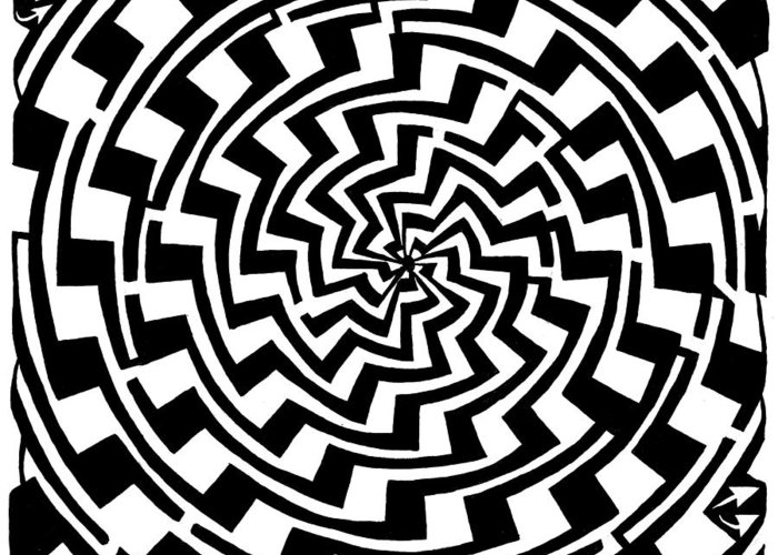 Gradient Greeting Card featuring the drawing Gradient Tunnel Spin Maze by Yonatan Frimer Maze Artist