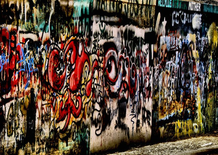 Architecture Greeting Card featuring the photograph Graffiti 3 by Scott Hovind
