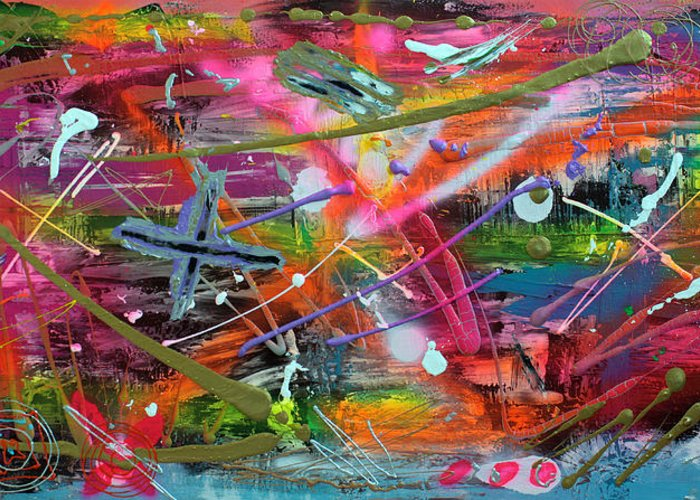 Abstract Greeting Card featuring the painting Graffiti by Laura Barbosa