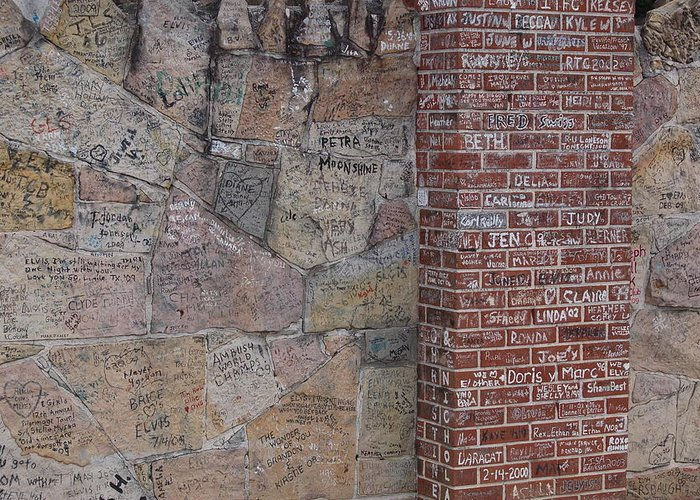 Elivis Presley Greeting Card featuring the photograph Graffiti Wall Graceland Memphis Tennessee by Wayne Higgs