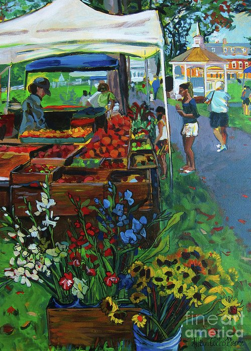 Grafton Greeting Card featuring the painting Grafton Farmer's Market by Allison Coelho Picone