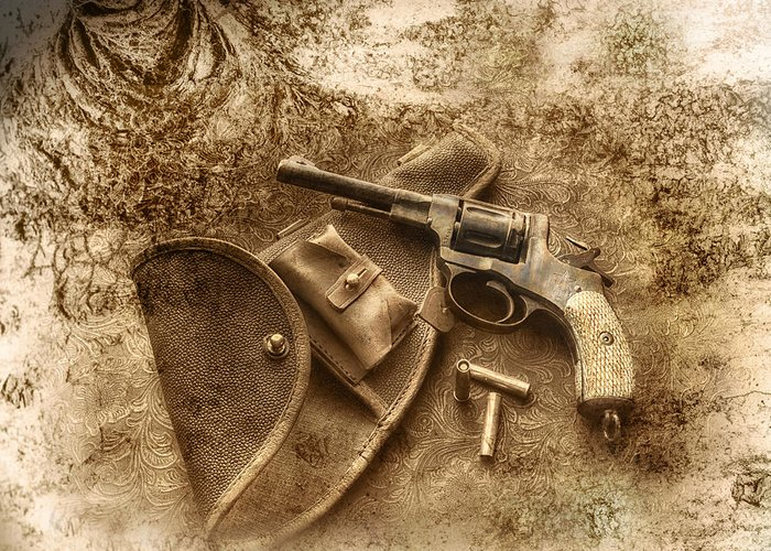 Firearms Greeting Card featuring the photograph Grammas Gun 2 by Susan Capuano