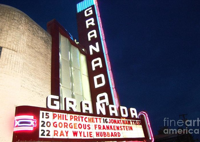 Music Greeting Card featuring the photograph Granada Theater by Debbi Granruth