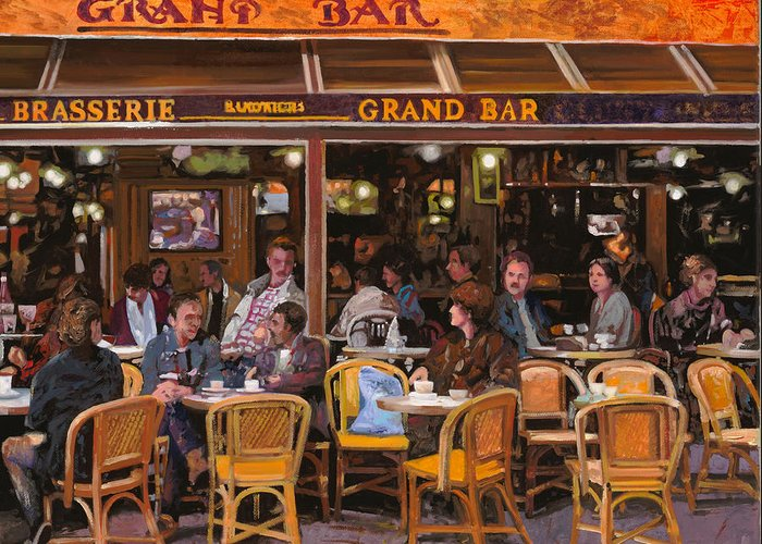 Brasserie Greeting Card featuring the painting Grand Bar by Guido Borelli