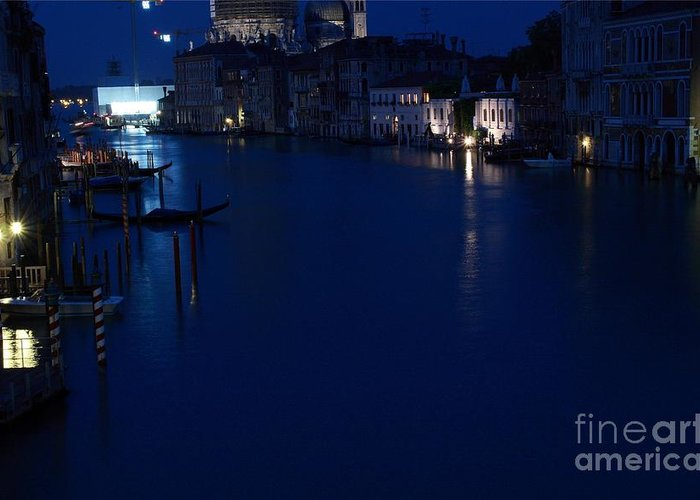Venice Greeting Card featuring the photograph Grand Canal In Venice At Night by Michael Henderson