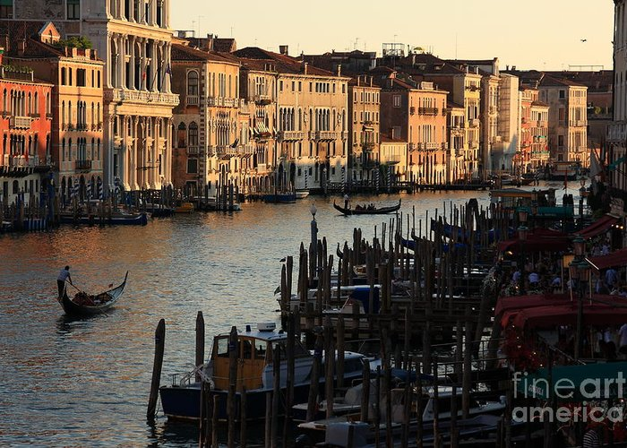 Venice Greeting Card featuring the photograph Grand Canal In Venice From The Rialto Bridge by Michael Henderson