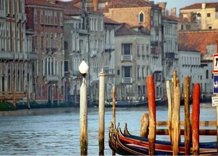 Venice Greeting Card featuring the photograph Grand Canal In Venice With Light On Pole by Michael Henderson