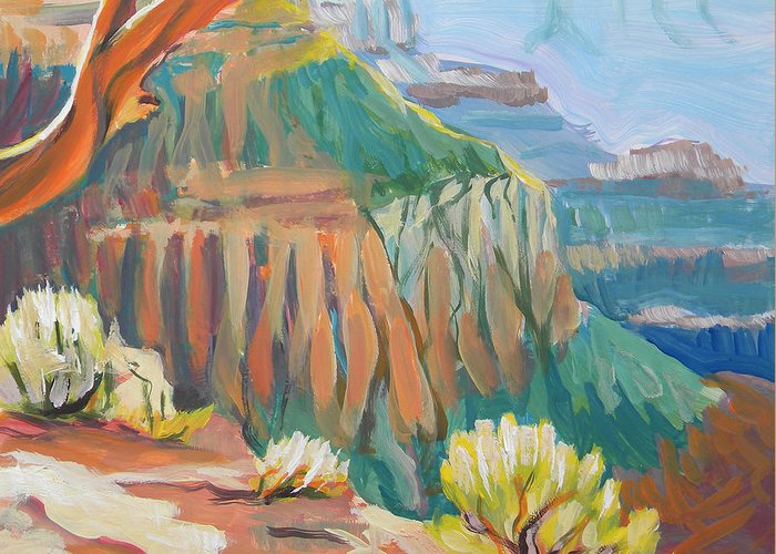 Southwest Greeting Card featuring the painting Grand Canyon 3 by Pam Van Londen